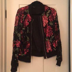 Jackets & Blazers - NWOT Rose Sequin Bomber Jacket, sz L